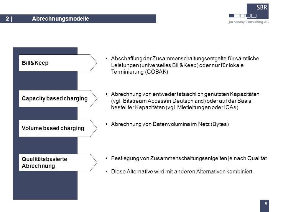 7 2 |Abrechnungsmodelle Regulierung heute: Symmetrische Entgelte auf der Basis von einem effizienten Betreiber (bislang mobilkom als Mobilfunkbetreiber und TA als Festnetzbetreiber) Alternativen: – LRAIC – betreiber-individuelle Kosten – Einheitliche LRAIC – hypothetischen Betreiber oder Durchschnittsbetreiber – Applizierung des Festnetz-Kostenrechnungsmodells für Mobilfunkregulierung und vice versa – Einheitliche Terminierungsentgelte sowohl für Mobilfunk- als auch für Festnetzbetreiber Varianten zur bestehenden Regulierung