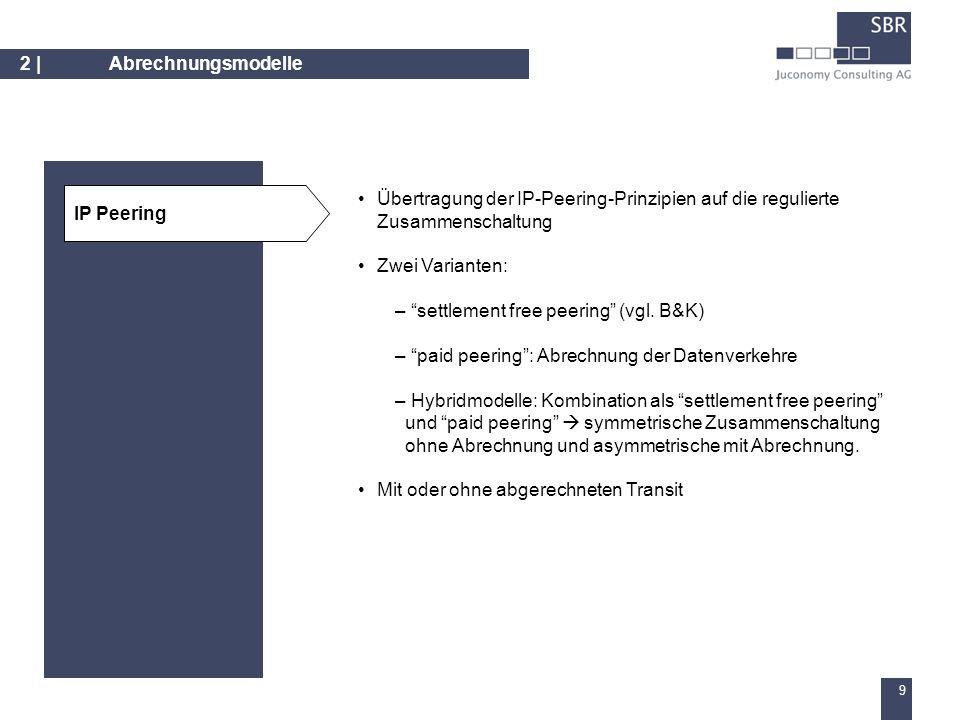 8 2 | Abrechnungsmodelle Abschaffung der Zusammenschaltungsentgelte für sämtliche Leistungen (universelles Bill&Keep) oder nur für lokale Terminierung (COBAK) Bill&Keep Abrechnung von entweder tatsächlich genutzten Kapazitäten (vgl.