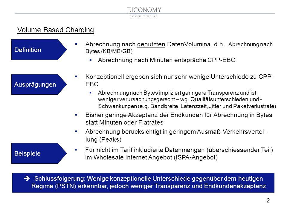 2 Abrechnung nach genutzten DatenVolumina, d.h. Abrechnung nach Bytes (KB/MB/GB) Abrechnung nach Minuten entspräche CPP-EBC Volume Based Charging Defi