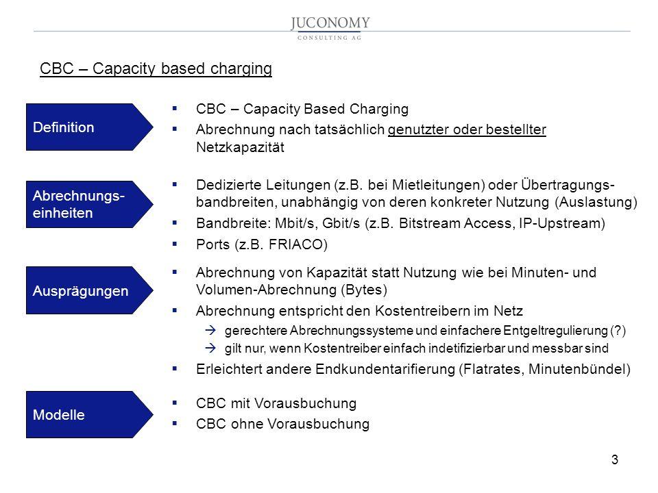 3 CBC – Capacity Based Charging Abrechnung nach tatsächlich genutzter oder bestellter Netzkapazität CBC – Capacity based charging Definition Abrechnungs- einheiten Dedizierte Leitungen (z.B.