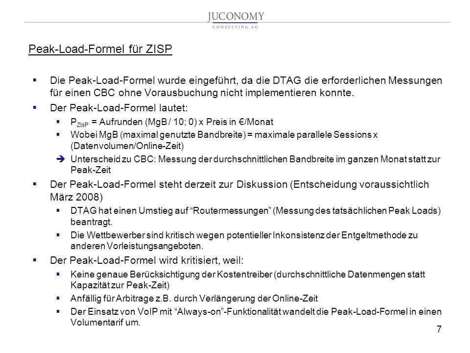 7 Peak-Load-Formel für ZISP Die Peak-Load-Formel wurde eingeführt, da die DTAG die erforderlichen Messungen für einen CBC ohne Vorausbuchung nicht imp
