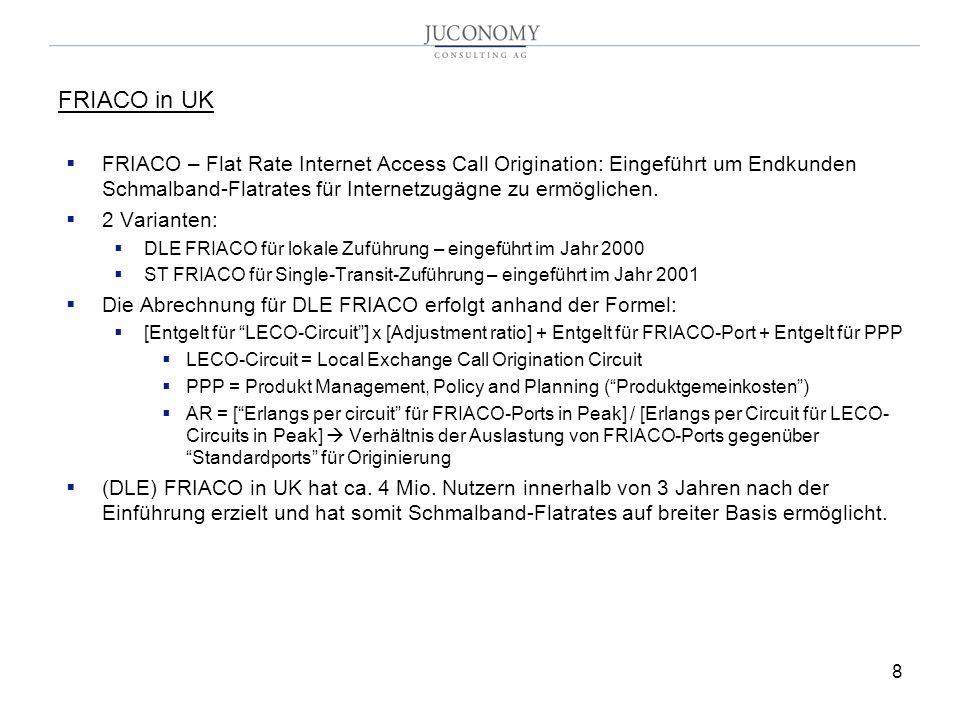 8 FRIACO in UK FRIACO – Flat Rate Internet Access Call Origination: Eingeführt um Endkunden Schmalband-Flatrates für Internetzugägne zu ermöglichen.