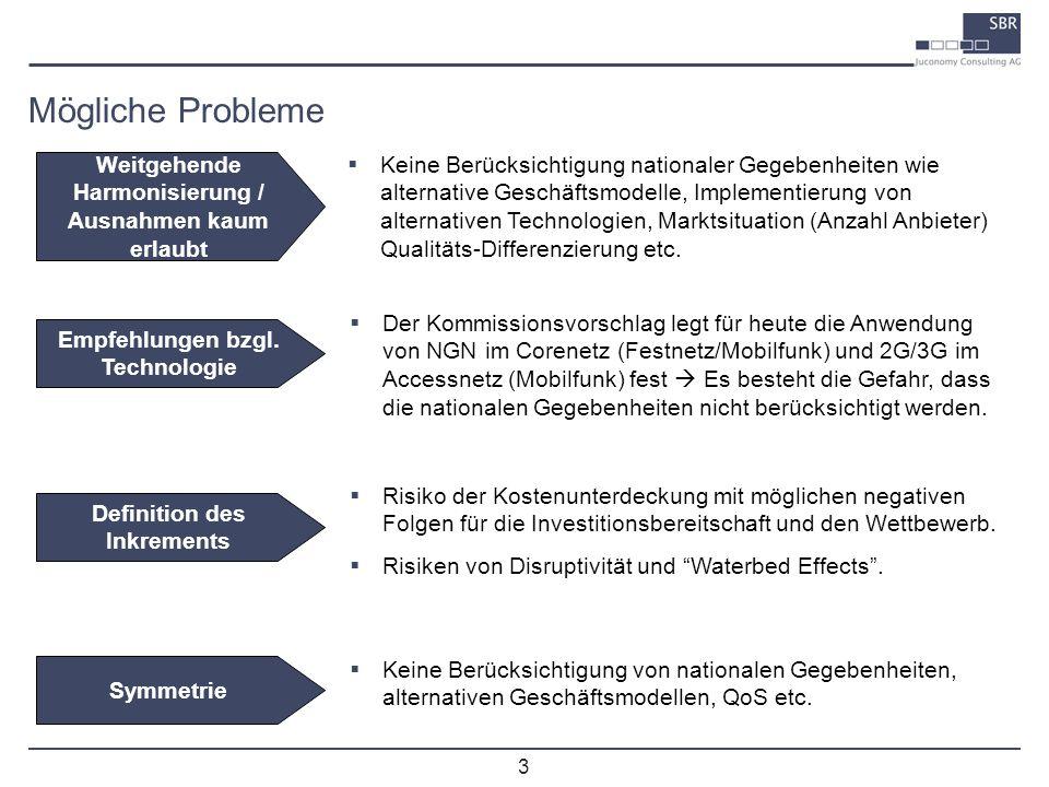 3 Mögliche Probleme Risiko der Kostenunterdeckung mit möglichen negativen Folgen für die Investitionsbereitschaft und den Wettbewerb. Risiken von Disr