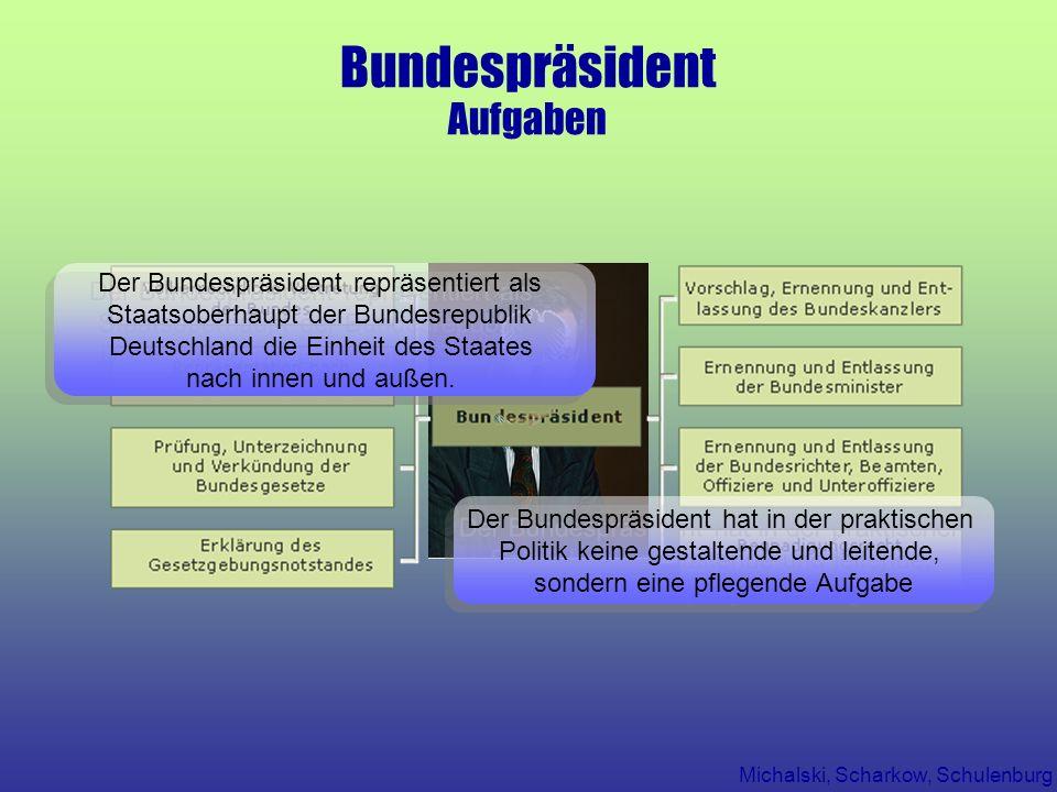 Michalski, Scharkow, Schulenburg Bundespräsident Aufgaben Der Bundespräsident hat in der praktischen Politik keine gestaltende und leitende, sondern e