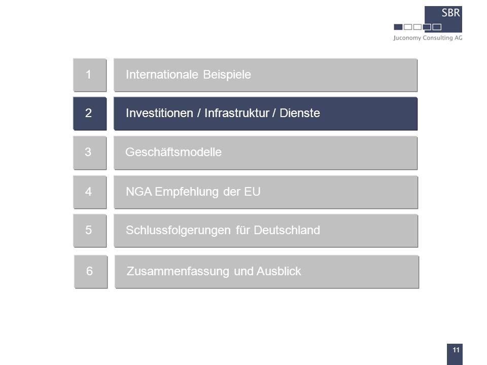11 Internationale Beispiele1 Investitionen / Infrastruktur / Dienste2 Geschäftsmodelle3 NGA Empfehlung der EU4 Schlussfolgerungen für Deutschland5 Zus
