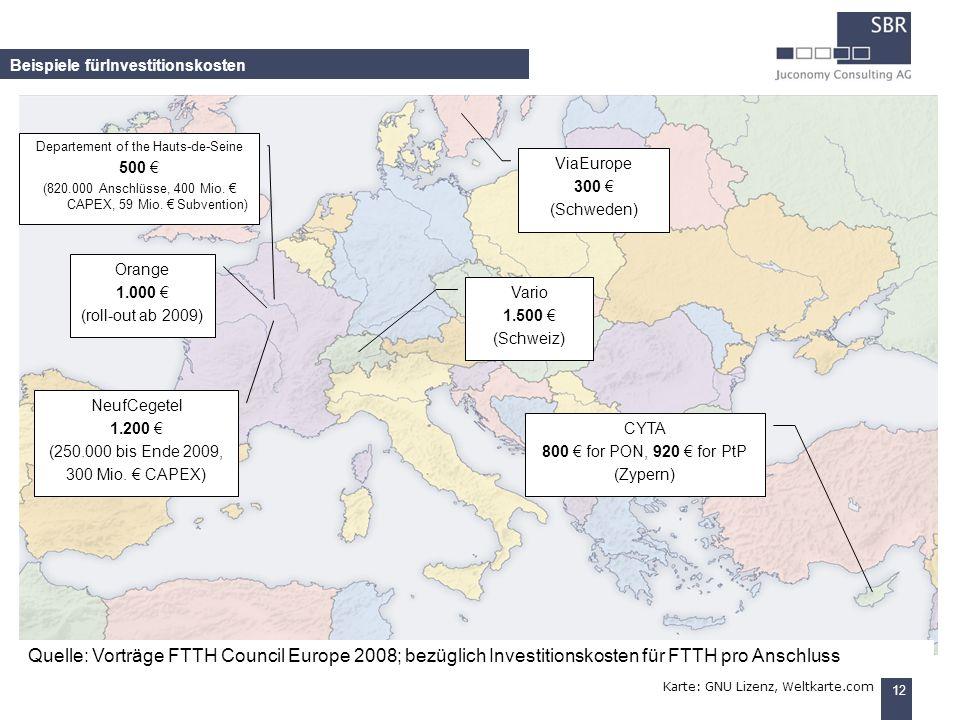 12 Beispiele fürInvestitionskosten Karte: GNU Lizenz, Weltkarte.com Orange 1.000 (roll-out ab 2009) NeufCegetel 1.200 (250.000 bis Ende 2009, 300 Mio.
