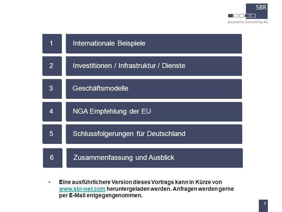 2 Internationale Beispiele1 Investitionen / Infrastruktur / Dienste2 Geschäftsmodelle3 NGA Empfehlung der EU4 Schlussfolgerungen für Deutschland5 Zusa