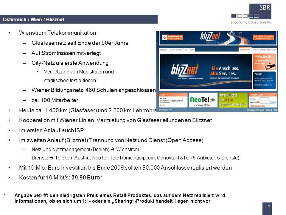 4 Österreich / Wien / Blizznet Wienstrom Telekommunikation –Glasfasernetz seit Ende der 90er Jahre –Auf Stromtrassen mitverlegt –City-Netz als erste A