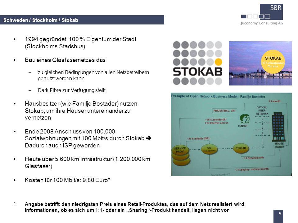 5 Schweden / Stockholm / Stokab 1994 gegründet; 100 % Eigentum der Stadt (Stockholms Stadshus) Bau eines Glasfasernetzes das –zu gleichen Bedingungen