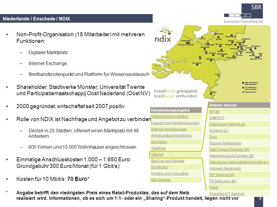 6 Niederlande / Enschede / NDIX Non-Profit-Organisation (15 Mitarbeiter) mit mehreren Funktionen: –Digitaler Marktplatz –Internet Exchange, –Breitband