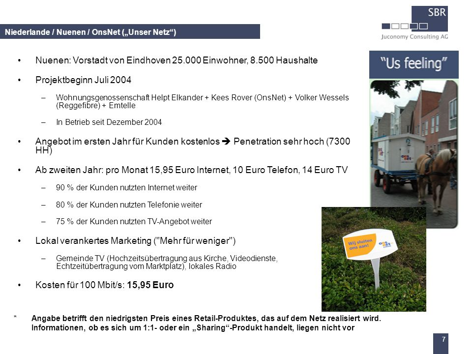 7 Niederlande / Nuenen / OnsNet (Unser Netz) Nuenen: Vorstadt von Eindhoven 25.000 Einwohner, 8.500 Haushalte Projektbeginn Juli 2004 –Wohnungsgenosse