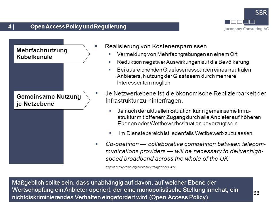 38 Realisierung von Kostenersparnissen Vermeidung von Mehrfachgrabungen an einem Ort Reduktion negativer Auswirkungen auf die Bevölkerung Bei ausreich