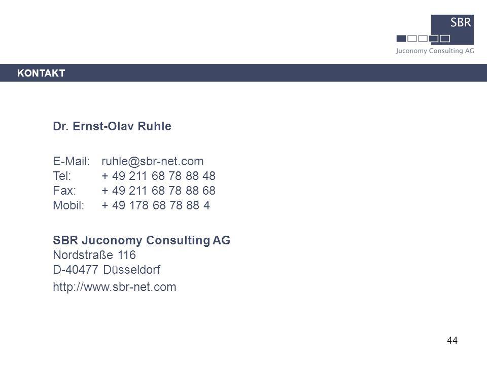 44 Dr. Ernst-Olav Ruhle E-Mail: ruhle@sbr-net.com Tel: + 49 211 68 78 88 48 Fax: + 49 211 68 78 88 68 Mobil: + 49 178 68 78 88 4 SBR Juconomy Consulti