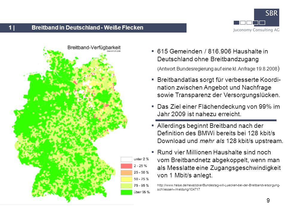 9 1 |Breitband in Deutschland - Weiße Flecken 615 Gemeinden / 816.906 Haushalte in Deutschland ohne Breitbandzugang (Antwort Bundesregierung auf eine