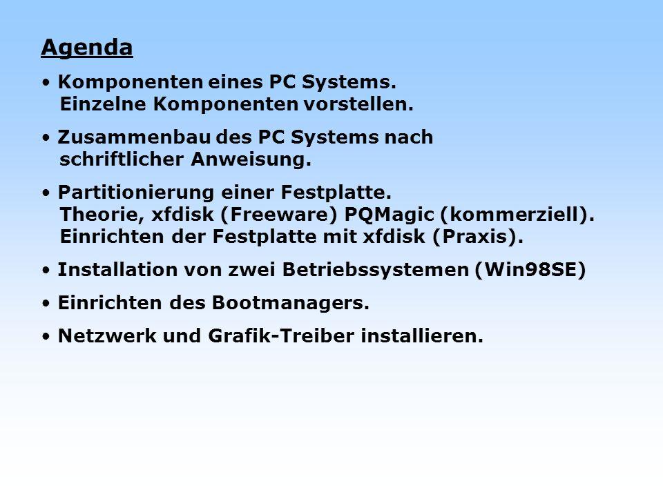 Agenda Komponenten eines PC Systems. Einzelne Komponenten vorstellen. Zusammenbau des PC Systems nach schriftlicher Anweisung. Partitionierung einer F