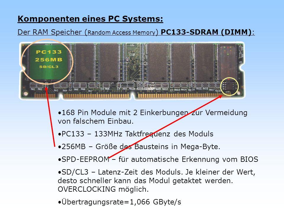 Komponenten eines PC Systems: Der RAM Speicher ( Random Access Memory ) PC133-SDRAM (DIMM): 168 Pin Module mit 2 Einkerbungen zur Vermeidung von falsc