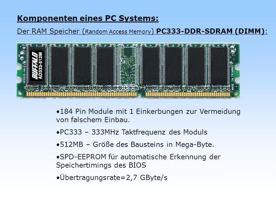 Komponenten eines PC Systems: Der RAM Speicher ( Random Access Memory ) PC333-DDR-SDRAM (DIMM): 184 Pin Module mit 1 Einkerbungen zur Vermeidung von f