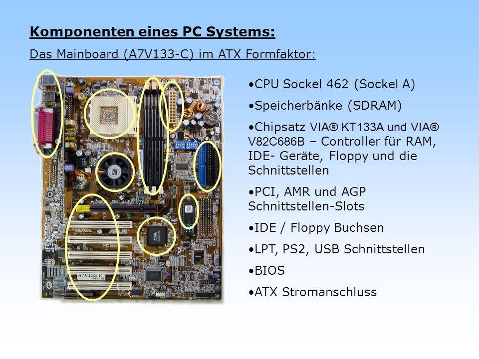 Komponenten eines PC Systems: Das Mainboard (A7V133-C) im ATX Formfaktor: CPU Sockel 462 (Sockel A) Speicherbänke (SDRAM) Chipsatz VIA® KT133A und VIA