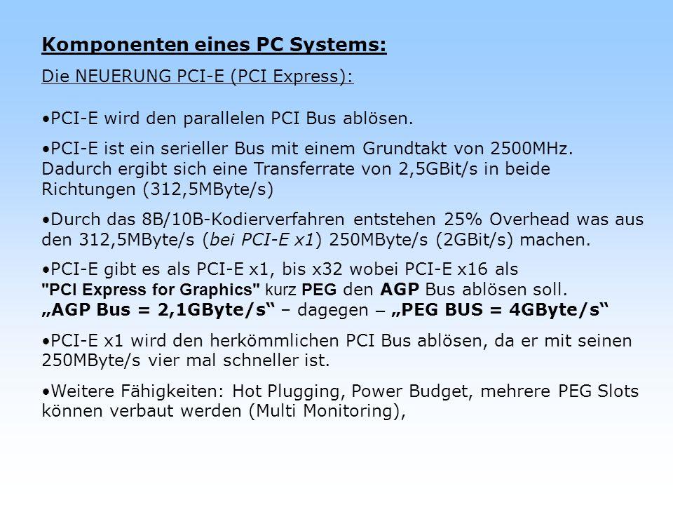 Komponenten eines PC Systems: Die NEUERUNG PCI-E (PCI Express): PCI-E wird den parallelen PCI Bus ablösen. PCI-E ist ein serieller Bus mit einem Grund