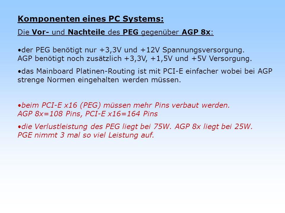 Komponenten eines PC Systems: Die Vor- und Nachteile des PEG gegenüber AGP 8x: der PEG benötigt nur +3,3V und +12V Spannungsversorgung. AGP benötigt n