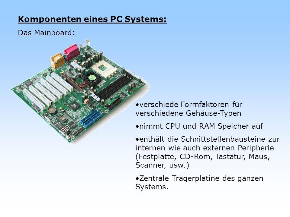 Komponenten eines PC Systems: Das Mainboard: verschiede Formfaktoren für verschiedene Gehäuse-Typen nimmt CPU und RAM Speicher auf enthält die Schnitt