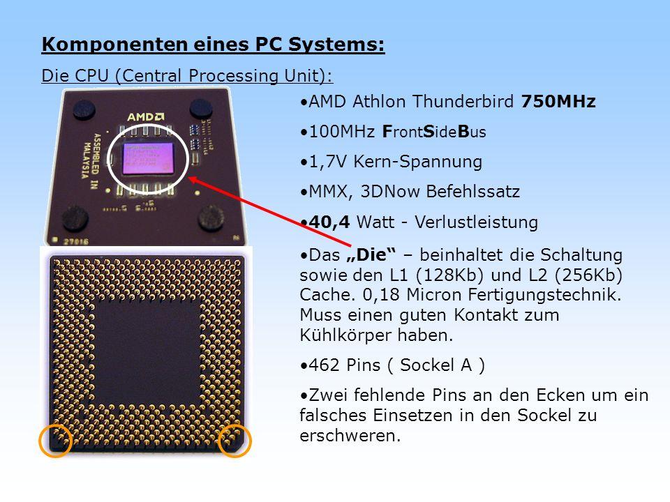 Komponenten eines PC Systems: Die CPU (aktueller Prozessor): AMD Athlon 64 Clawhammer 3400+ 200MHz F ront S ide B us (400MHz) 1,5V Kern-Spannung L1 Cache mit 128Kb L2 Cache mit 1Mb 754 Pins – Sockel 754 0,13 Micron Fertigungstechnik.