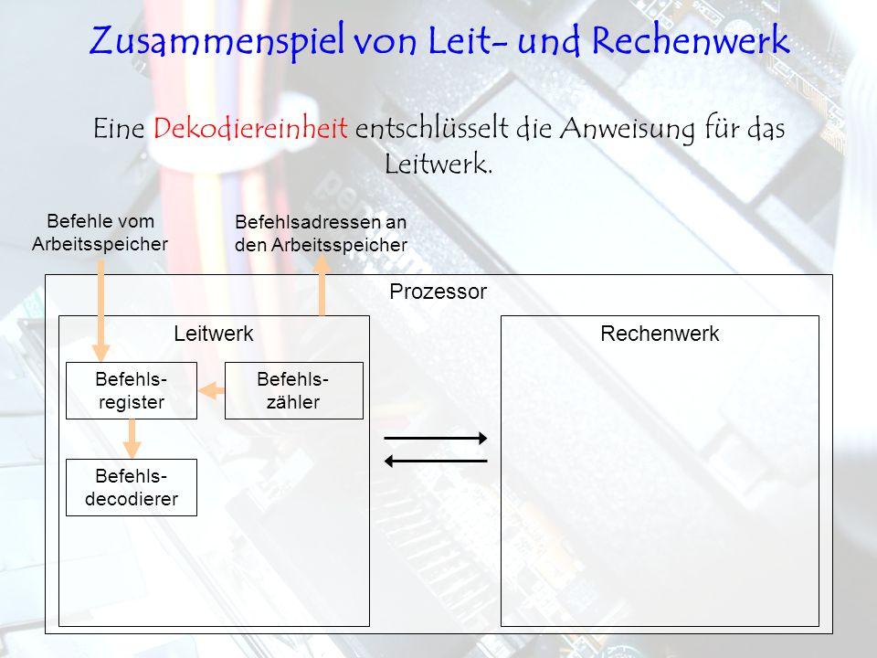 LeitwerkRechenwerk Prozessor Eine Dekodiereinheit entschlüsselt die Anweisung für das Leitwerk. Befehls- register Befehls- zähler Befehls- decodierer