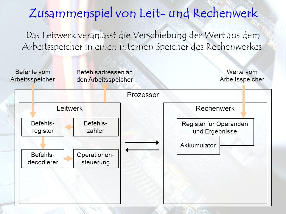 LeitwerkRechenwerk Prozessor Das Leitwerk veranlasst die Verschiebung der Wert aus dem Arbeitsspeicher in einen internen Speicher des Rechenwerkes. Be