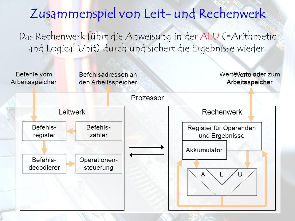 LeitwerkRechenwerk Prozessor Das Rechenwerk führt die Anweisung in der ALU (=Arithmetic and Logical Unit) durch und sichert die Ergebnisse wieder. Bef