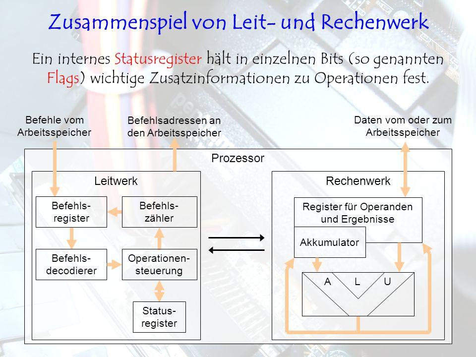 LeitwerkRechenwerk Prozessor Ein internes Statusregister hält in einzelnen Bits (so genannten Flags) wichtige Zusatzinformationen zu Operationen fest.