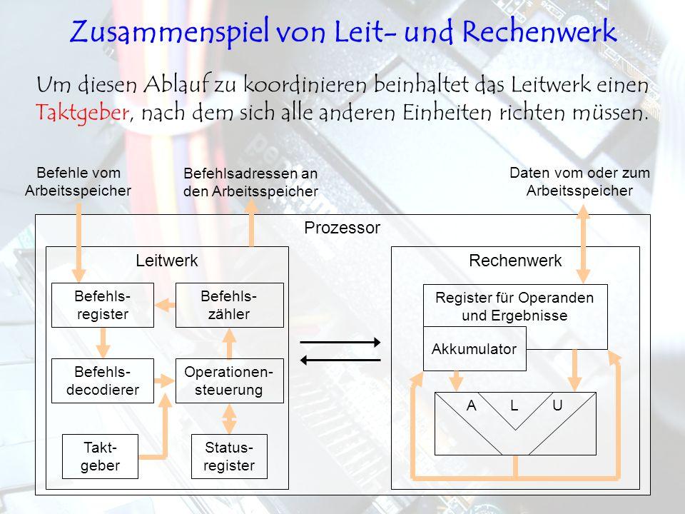 LeitwerkRechenwerk Prozessor Um diesen Ablauf zu koordinieren beinhaltet das Leitwerk einen Taktgeber, nach dem sich alle anderen Einheiten richten mü