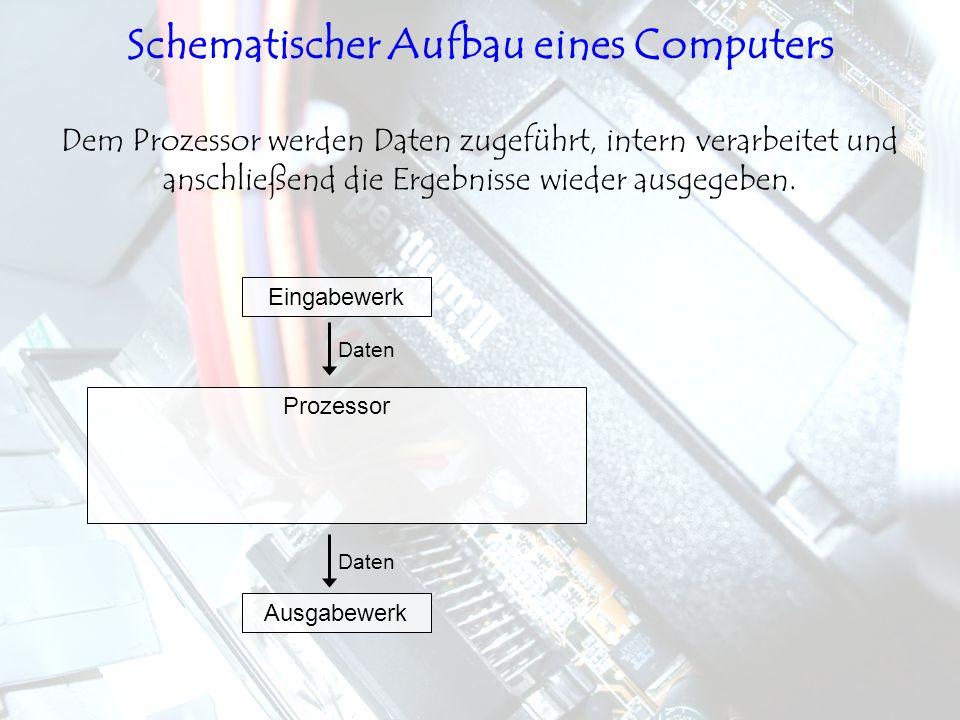 Prozessor Eingabewerk Daten Ausgabewerk Daten Dem Prozessor werden Daten zugeführt, intern verarbeitet und anschließend die Ergebnisse wieder ausgegeb