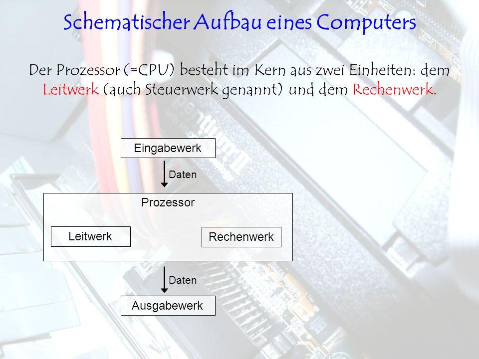 Leitwerk Rechenwerk Prozessor Der Prozessor (=CPU) besteht im Kern aus zwei Einheiten: dem Leitwerk (auch Steuerwerk genannt) und dem Rechenwerk. Eing