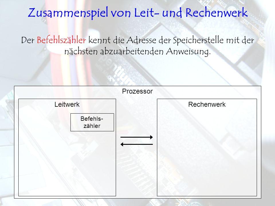 LeitwerkRechenwerk Prozessor Der Befehlszähler kennt die Adresse der Speicherstelle mit der nächsten abzuarbeitenden Anweisung. Befehls- zähler Zusamm