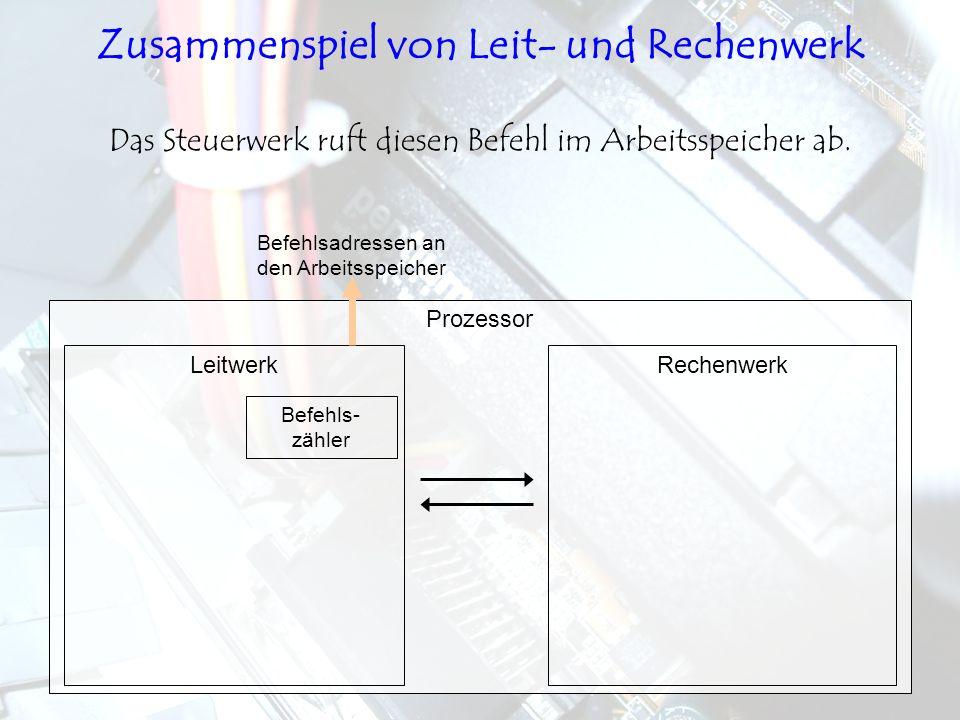 LeitwerkRechenwerk Prozessor Das Steuerwerk ruft diesen Befehl im Arbeitsspeicher ab. Befehls- zähler Befehlsadressen an den Arbeitsspeicher Zusammens