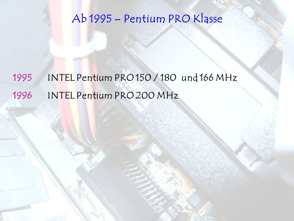 1995INTEL Pentium PRO 150 / 180 und 166 MHz 1996INTEL Pentium PRO 200 MHz Ab 1995 – Pentium PRO Klasse