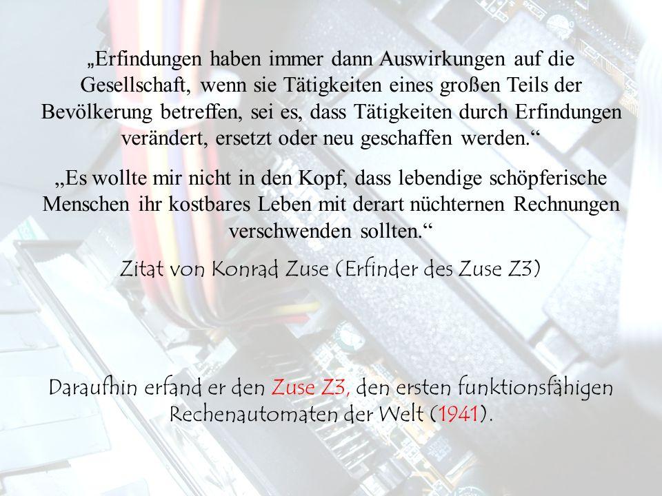 Um 1940 Bau des Zuse Z1 und des Zuse Z2 von Konrad Zuse.