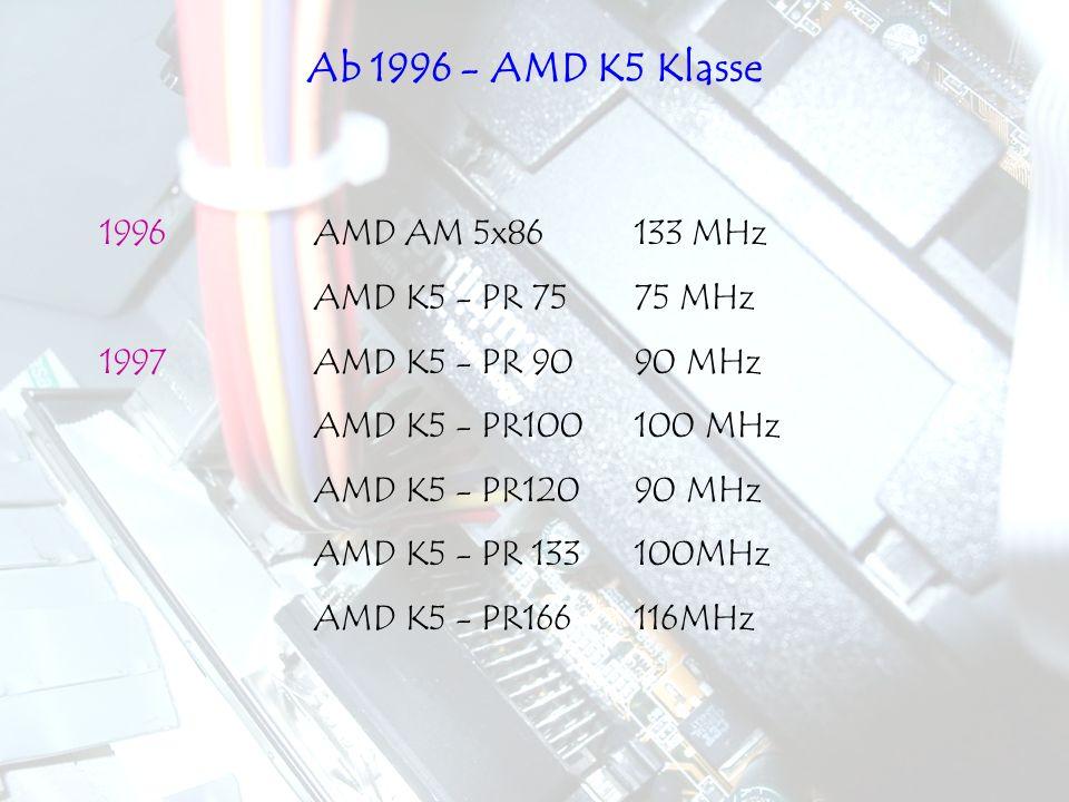 1996AMD AM 5x86 133 MHz AMD K5 - PR 7575 MHz 1997AMD K5 - PR 9090 MHz AMD K5 - PR100100 MHz AMD K5 - PR12090 MHz AMD K5 - PR 133100MHz AMD K5 - PR1661