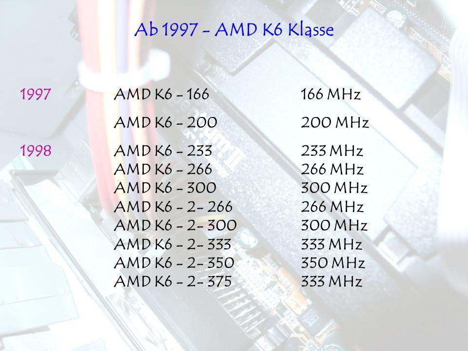 1997AMD K6 - 166166 MHz AMD K6 - 200200 MHz 1998AMD K6 - 233233 MHz AMD K6 - 266266 MHz AMD K6 - 300300 MHz AMD K6 - 2- 266266 MHz AMD K6 - 2- 300300