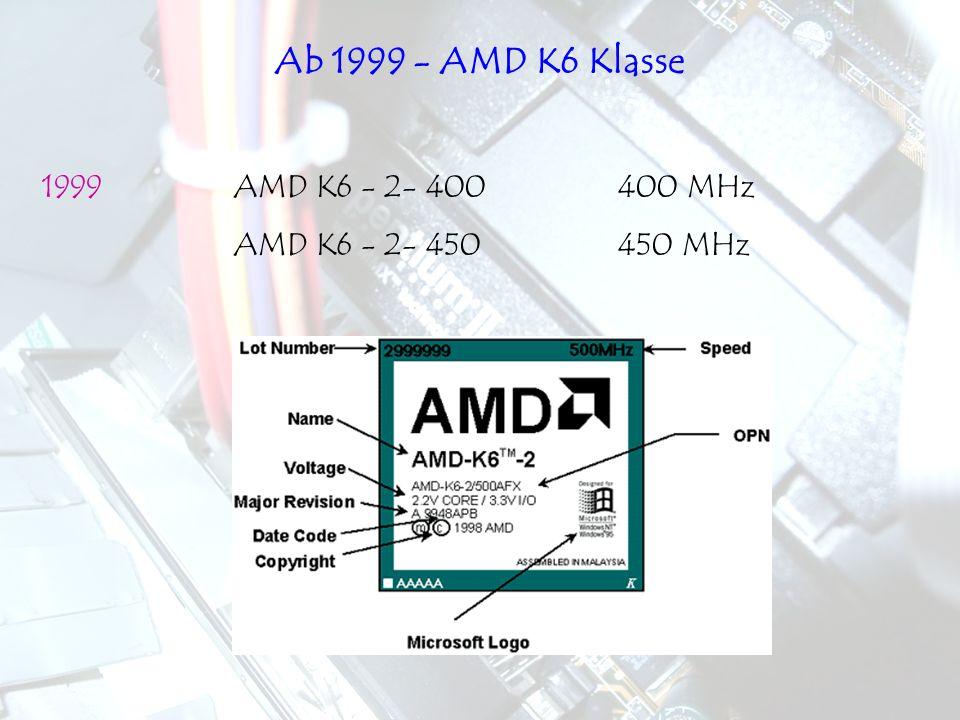1999AMD K6 - 2- 400400 MHz AMD K6 - 2- 450450 MHz Ab 1999 - AMD K6 Klasse