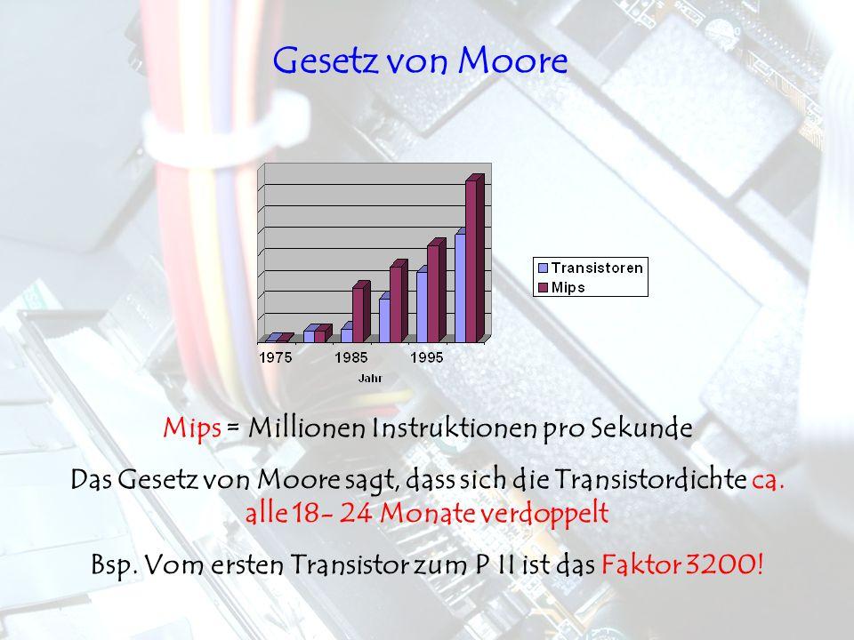 Mips = Millionen Instruktionen pro Sekunde Das Gesetz von Moore sagt, dass sich die Transistordichte ca. alle 18- 24 Monate verdoppelt Bsp. Vom ersten