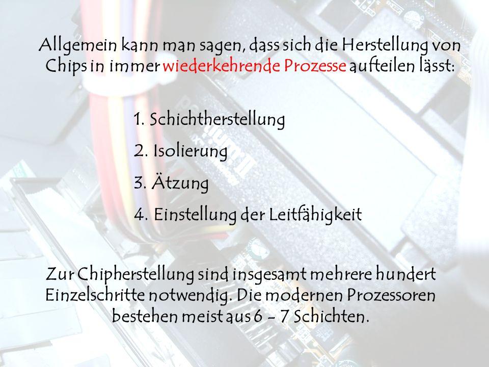 1.Schichtherstellung 2. Isolierung 3. Ätzung 4.