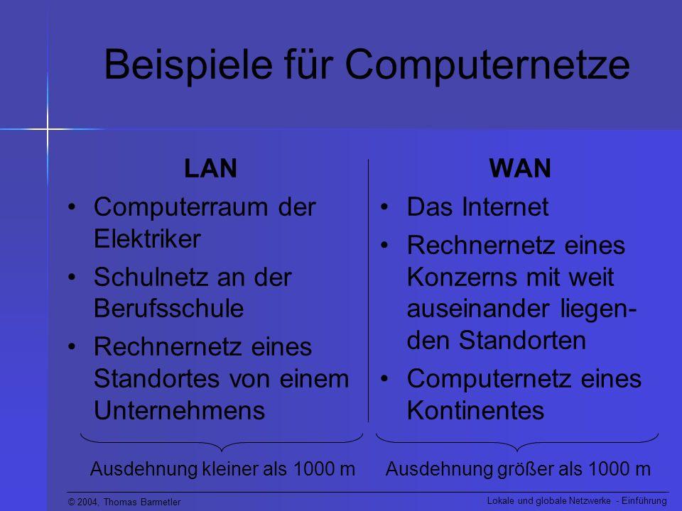 © 2004, Thomas Barmetler Lokale und globale Netzwerke - Einführung Lokale Netze (LANs) LANs werden nach folgenden Gesichts- punkten entwickelt: Einsatz in örtlich begrenztem Gebiet Bereitstellung von hoher Bandbreite für viele Benutzer Zugang zu lokalen Diensten ermöglichen Verbindung örtlich benachbarter Geräte