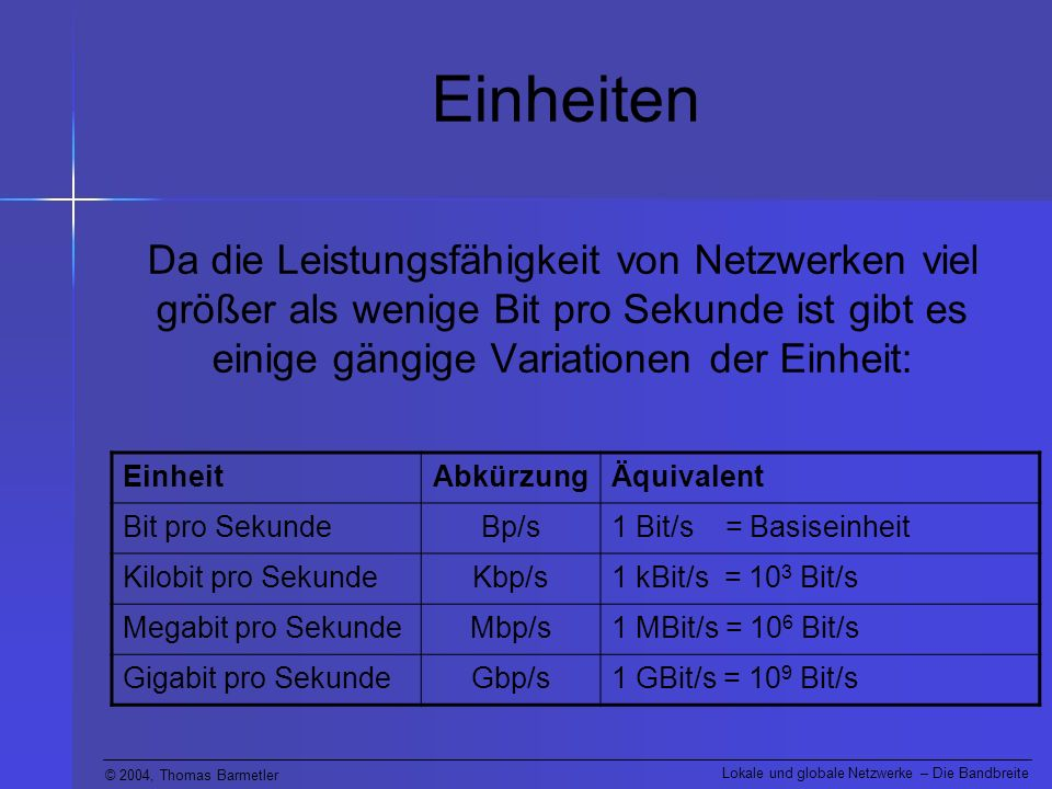 © 2004, Thomas Barmetler Lokale und globale Netzwerke – Die Bandbreite Einheiten Da die Leistungsfähigkeit von Netzwerken viel größer als wenige Bit pro Sekunde ist gibt es einige gängige Variationen der Einheit: EinheitAbkürzungÄquivalent Bit pro SekundeBp/s1 Bit/s = Basiseinheit Kilobit pro SekundeKbp/s1 kBit/s = 10 3 Bit/s Megabit pro SekundeMbp/s1 MBit/s = 10 6 Bit/s Gigabit pro SekundeGbp/s1 GBit/s = 10 9 Bit/s