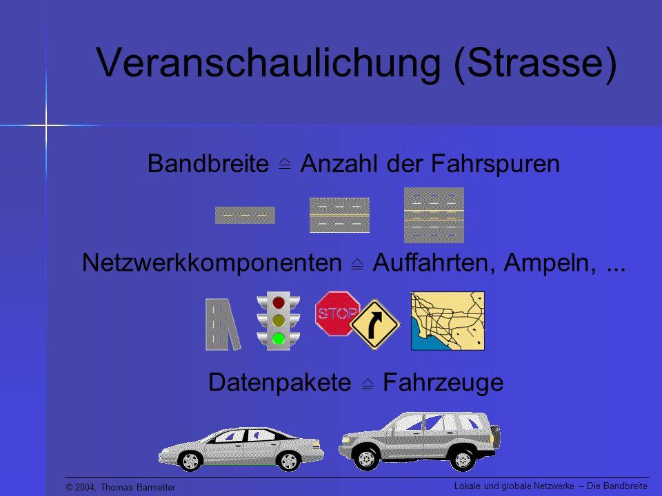 © 2004, Thomas Barmetler Lokale und globale Netzwerke – Die Bandbreite Veranschaulichung (Strasse) Bandbreite Anzahl der Fahrspuren Netzwerkkomponenten Auffahrten, Ampeln,...