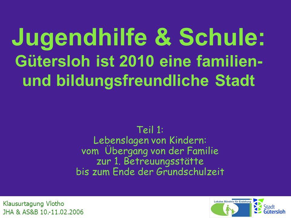 Klausurtagung Vlotho JHA & AS&B 10.-11.02.2006 Jugendhilfe & Schule: Gütersloh ist 2010 eine familien- und bildungsfreundliche Stadt Teil 1: Lebenslag