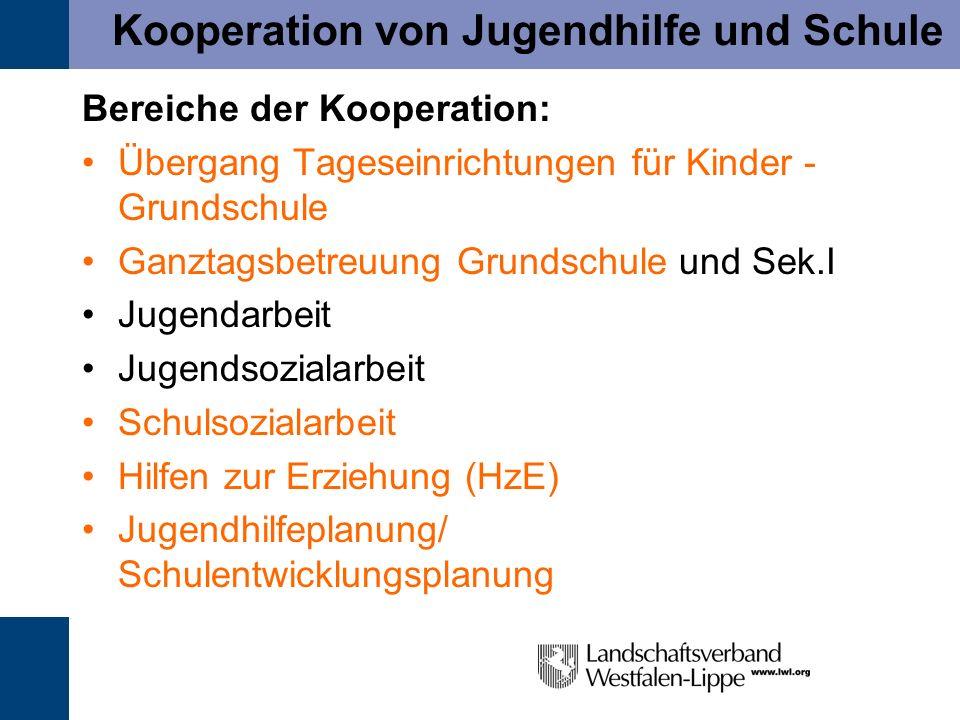 Kooperation von Jugendhilfe und Schule Bereiche der Kooperation: Übergang Tageseinrichtungen für Kinder - Grundschule Ganztagsbetreuung Grundschule un
