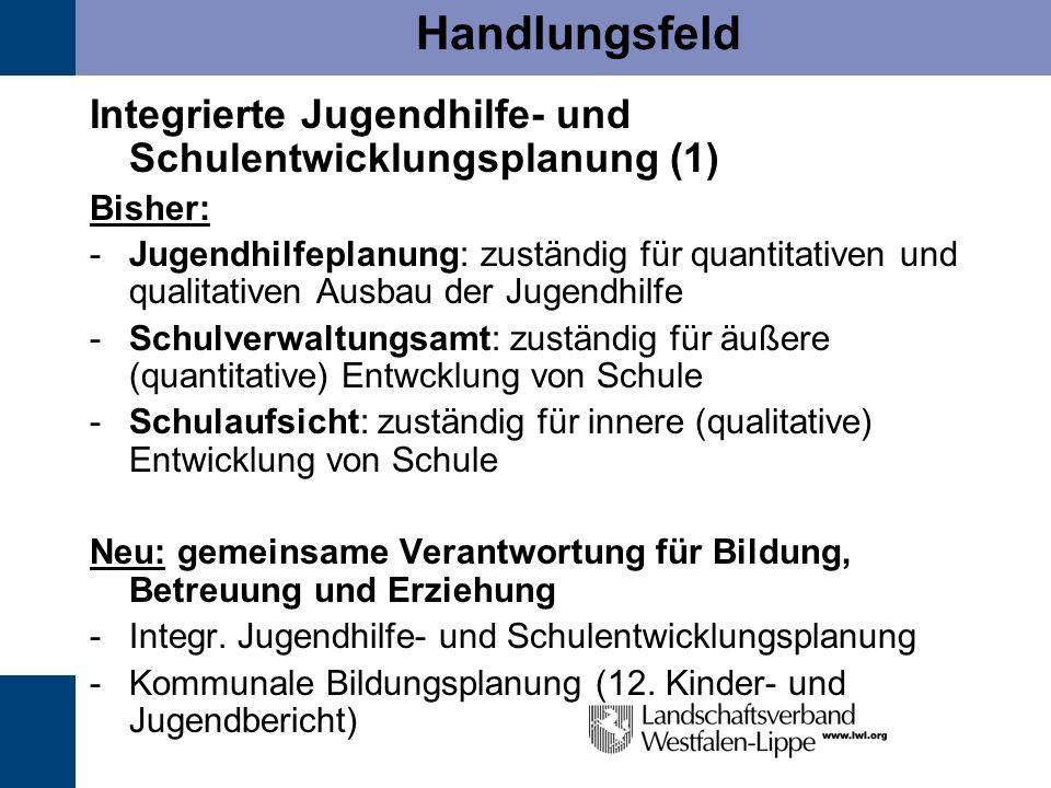 Handlungsfeld Integrierte Jugendhilfe- und Schulentwicklungsplanung (1) Bisher: -Jugendhilfeplanung: zuständig für quantitativen und qualitativen Ausb
