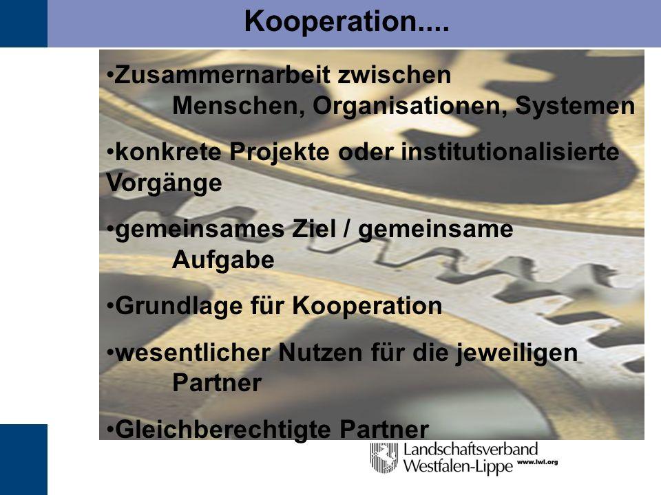 Kooperation.... Zusammernarbeit zwischen Menschen, Organisationen, Systemen konkrete Projekte oder institutionalisierte Vorgänge gemeinsames Ziel / ge