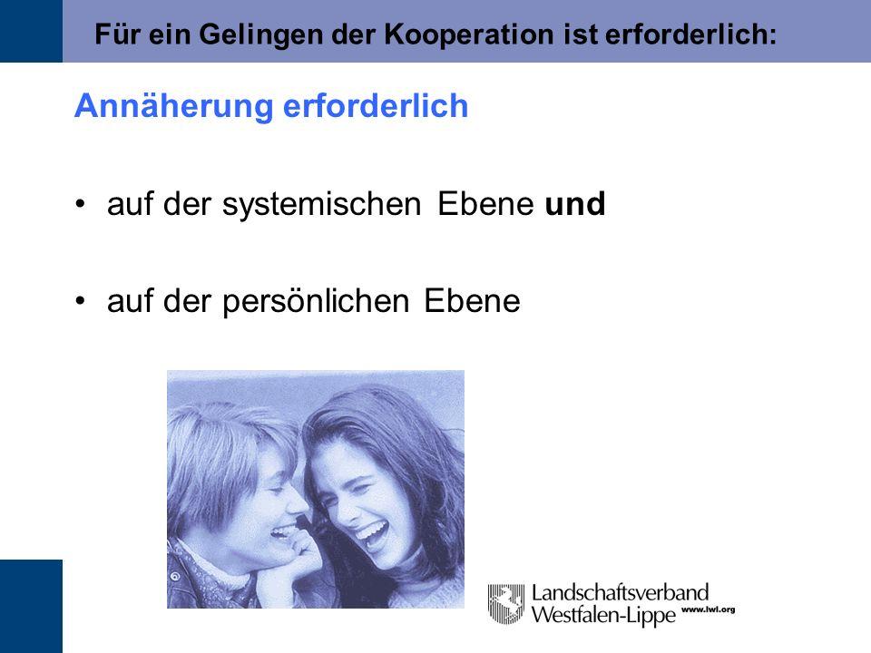 Für ein Gelingen der Kooperation ist erforderlich: Annäherung erforderlich auf der systemischen Ebene und auf der persönlichen Ebene